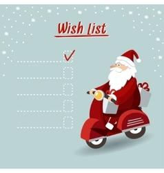 Cute christmas greeting card wish list with Santa vector image