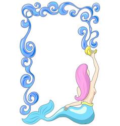 mermaid with water frame mermaid vector image vector image