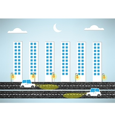 urban landscape and road of evening vector image