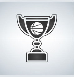 basketball trophy cup award icon in flat style vector image