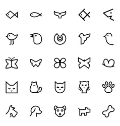 Fishes birds butterflies cats and dogs icons vector image vector image