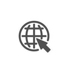 Globe with mouse cursor simple icon world sign vector