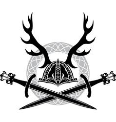 Helmet with antlers and Viking swords vector image