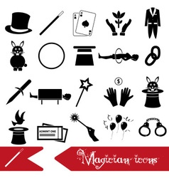 magician and magic theme set of icons eps10 vector image vector image