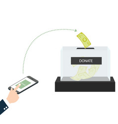 online mobile donation fundraiser hands holding vector image vector image