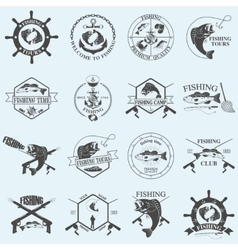 Set of vintage fishing labels badges and design vector image vector image