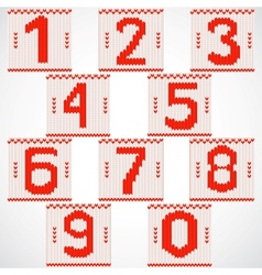 Vintage knitted red numbers set vector image