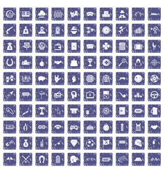 100 gambling icons set grunge sapphire vector