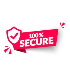 100 percent secure label modern web banner vector image