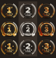 1st 2nd 3rd place logo with laurels and ribbons vector image