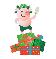 a pig standing on gift boxes and giving a speech vector image