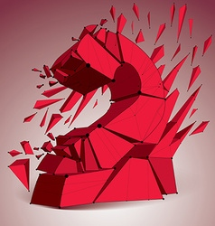 Abstract 3d faceted red number 2 with connected vector image
