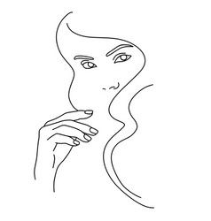 Abstract face line drawing beauty woman portrait vector