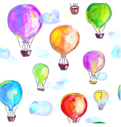 air balloons artistic seamless pattern painted vector image