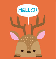 animal deer cartoon deer say hello background vect vector image