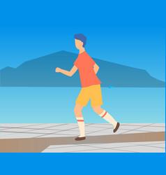 athlete character running outdoor sport vector image