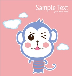 baby card with cute monkey vector image