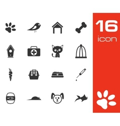 black pet icons set vector image