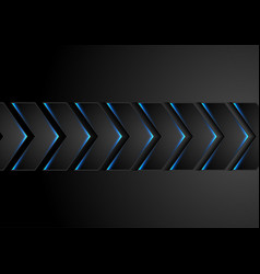 black technology arrows with blue neon light vector image