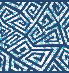Blue spiral geometric pattern vector