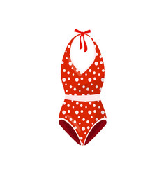 Bright red one-piece swimsuit with polka-dot vector