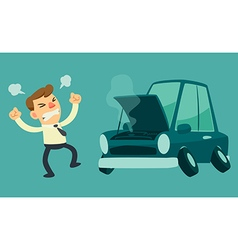 Business man and broken car vector