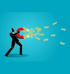 businessman attracts money using a large magnet vector image
