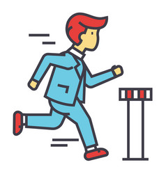 Businessman run cross finish line business race vector