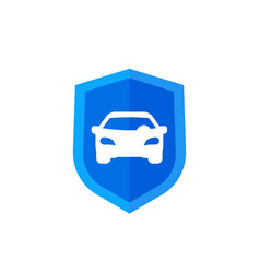 car and shield icon on white vector image