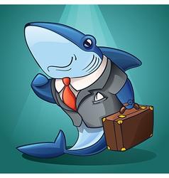 Cartoon business shark vector