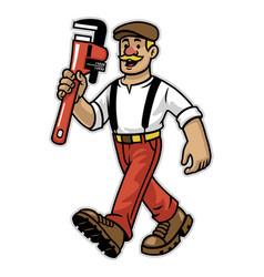 cartoon happy plumber worker mascot vector image