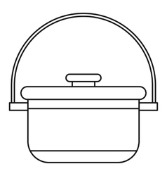 Cauldron with lid icon outline style vector image