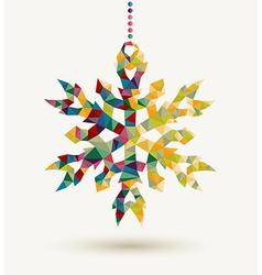 Christmas holidays triangle snowflake background vector image