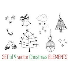 Collection of hand drawn Christmas elements vector image