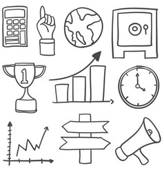 Collection of object business doodles vector