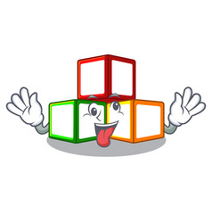 Crazy toy blocks on cube boxes mascot vector