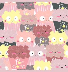 cute popcorn cartoon seamless pattern vector image
