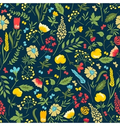 Cute seamless floral pattern with flowers and herb vector