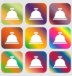 Dish with lid icon sign Nine buttons with bright vector