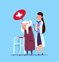 Doctor taking care of senior woman grandmother vector