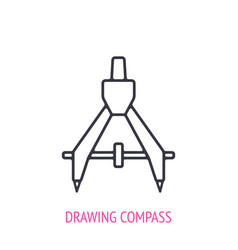 drawing compass or pair compasses outline icon vector image