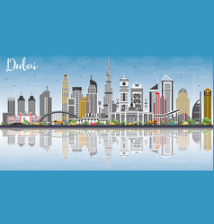dubai uae skyline with gray buildings blue sky vector image