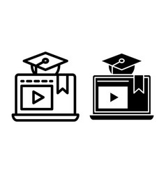 e-learning line and glyph icon home education vector image
