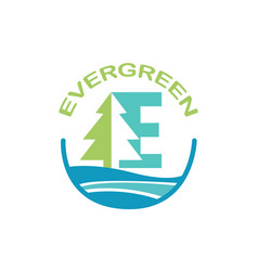 Eco logo evergreen logo logo template vector