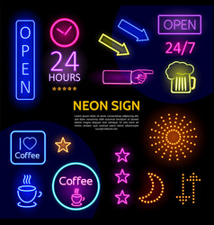electric neon signs template vector image