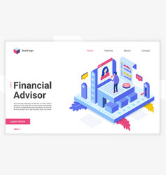 financial advisor isometric landing page vector image