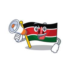 Flag kenya with holding megaphone cartoon vector