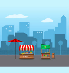 Flat fruit stall seller in the city vector