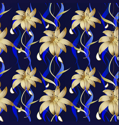 floral luxury seamless pattern dark blue vector image