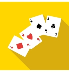 Four aces playing cards icon flat style vector image